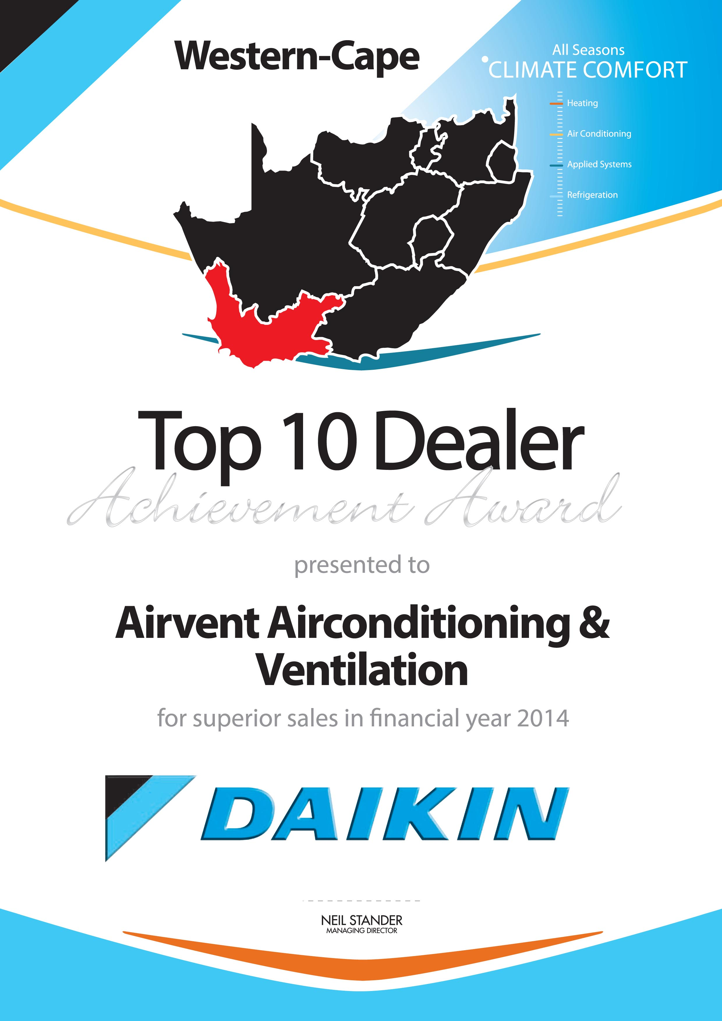 Airvent Airconditioning & Ventiliation Award: Daikin Top Dealer Achievement Award 2014