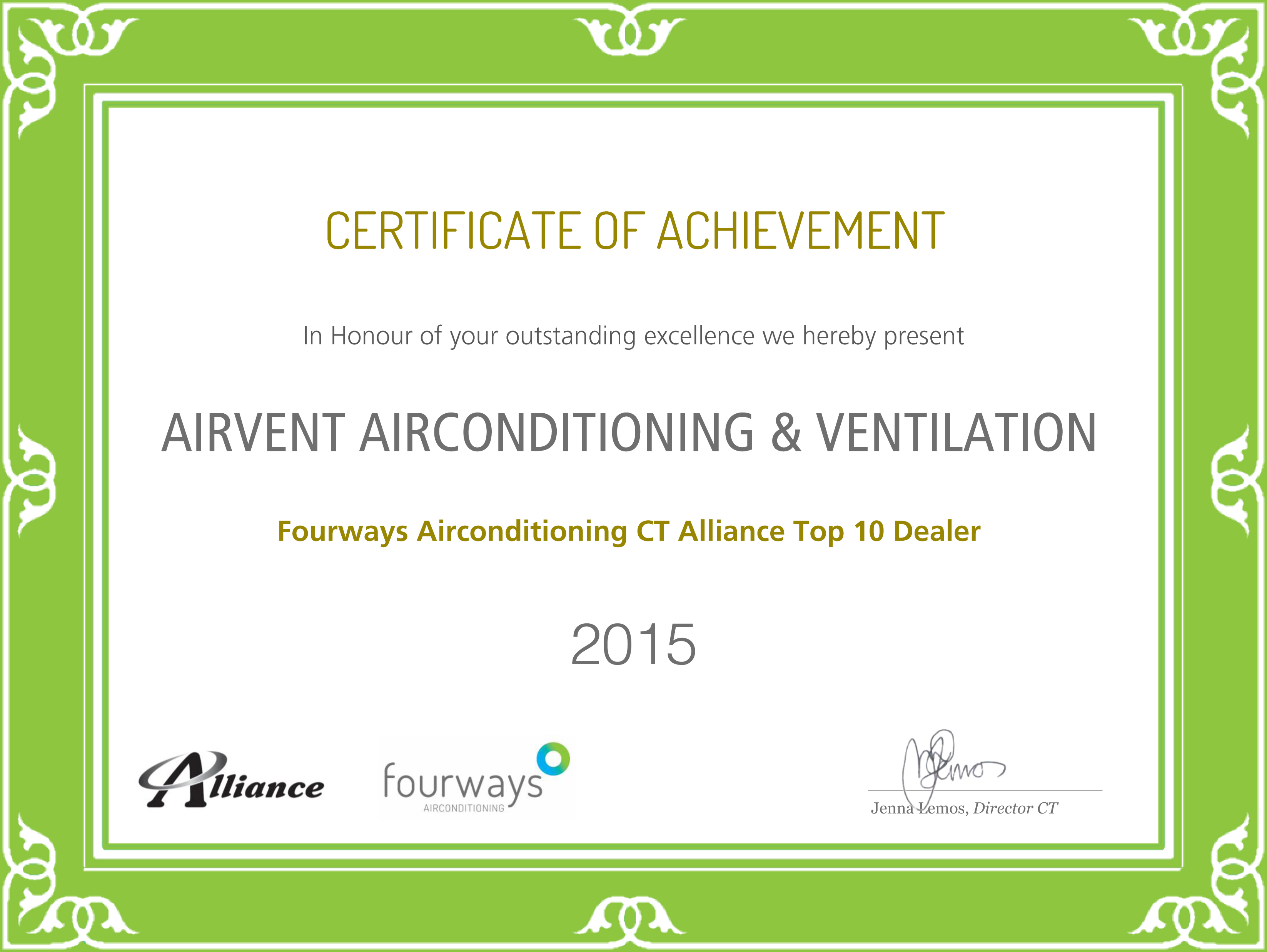 Airvent Airconditioning & Ventiliation Award: Certificate of Achievement Samsung