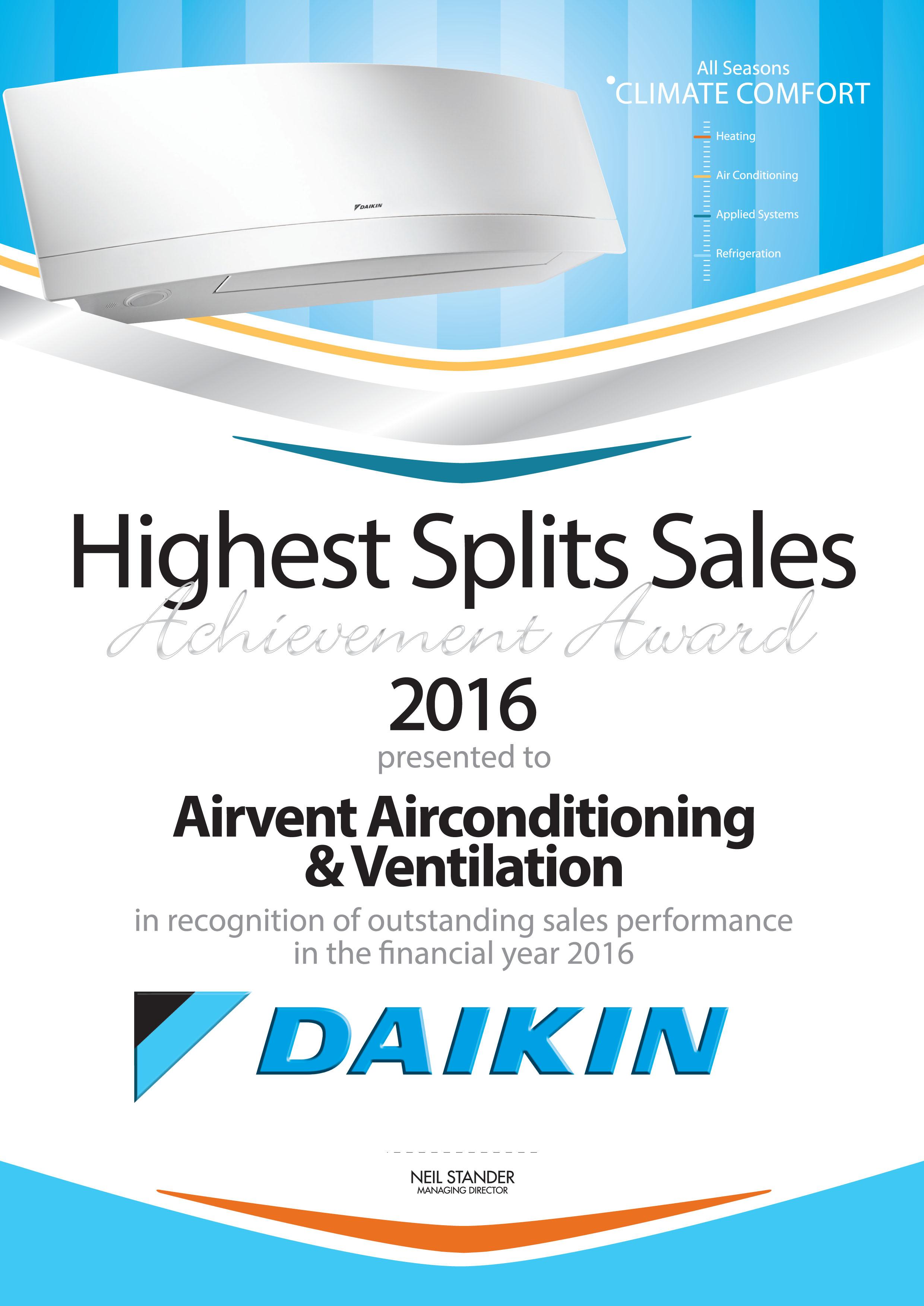 Daikin Highest Splits Sales Achievement Award 2016