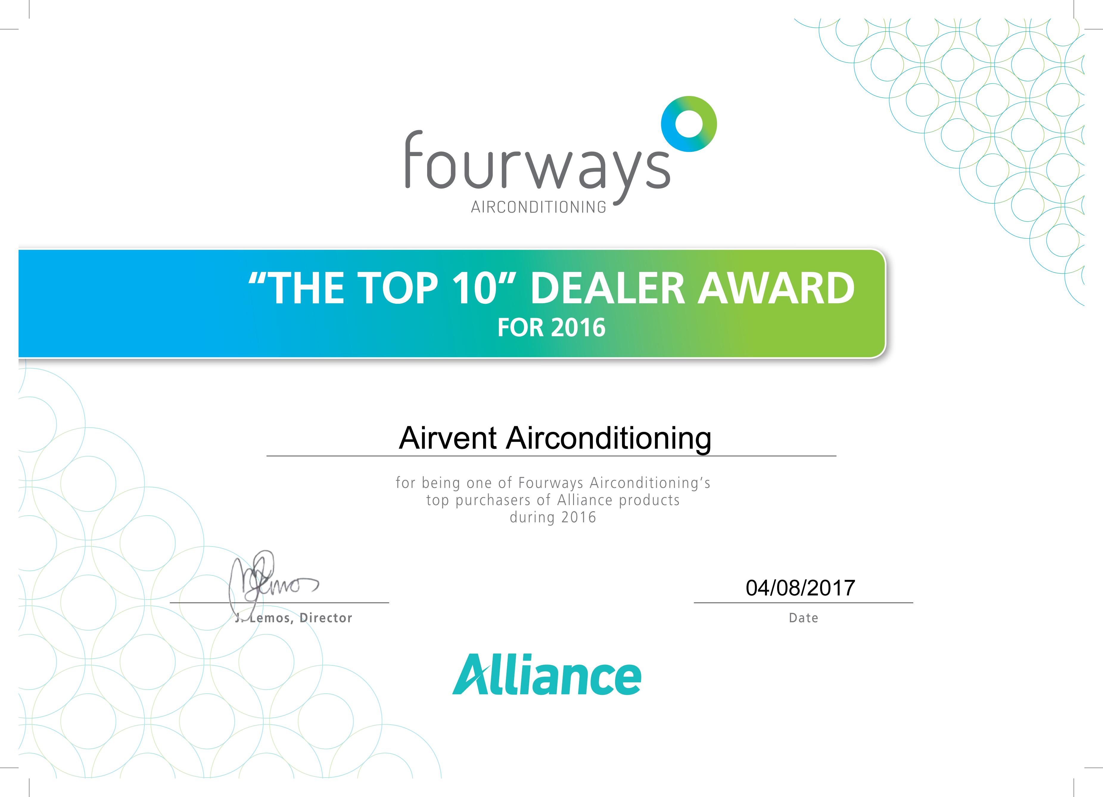 Alliance Top 10 Dealer Award 2016