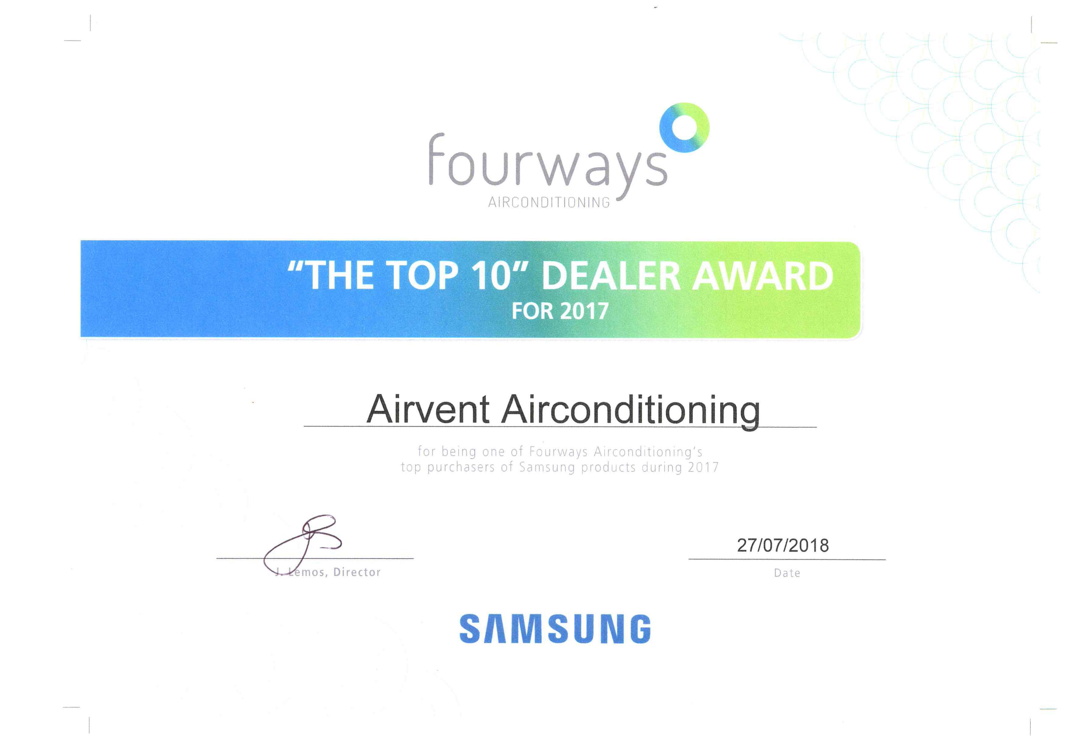 Samsung Award: Top 10 dealer award 2017